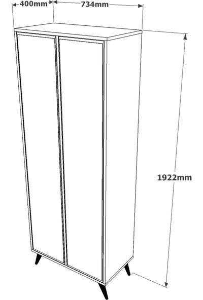 Yurupa Inamor Vestiyer Ahşap Ayak, Aynalı,12Raf, Beyaz-Kayın IN62-111