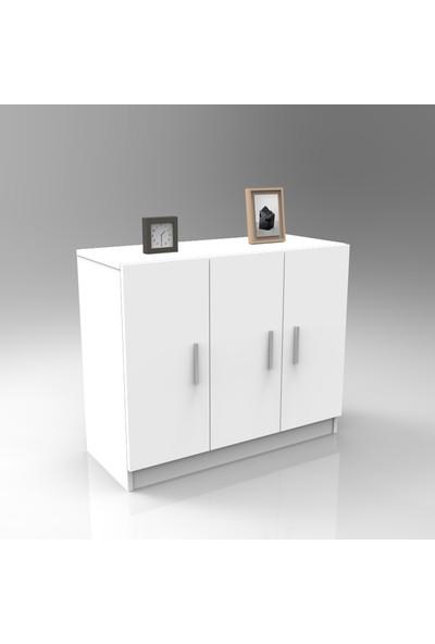 Yurupa Kraft Serisi No:15 Ofis Kapaklı Dolap 3 Renk Beyaz VO5-W