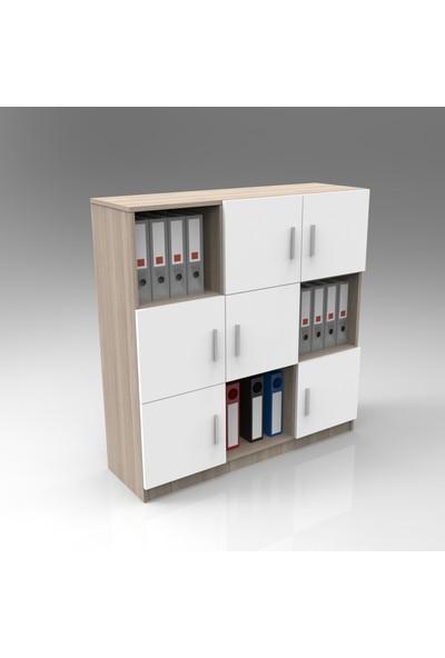 Yurupa Kraft Serisi No:17 Ofis Klasör Dolabı Kitaplık 3 Renk Meşe-Beyaz VO7-WO