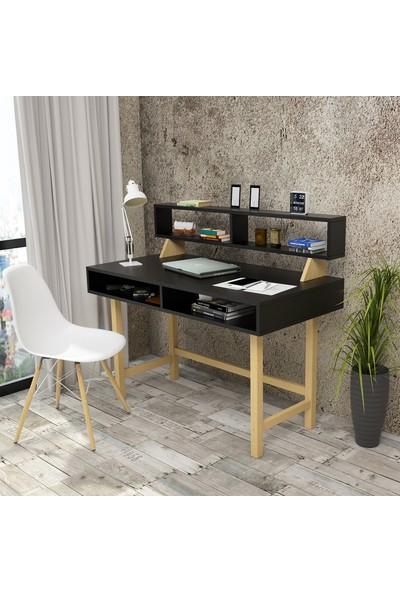 Yurupa Wooden Serisi No:1 Çalışma Masası Raflı Retro 60cm Derinlik Siyah WN10-B