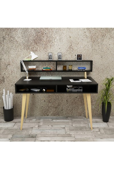 Yurupa Wooden Serisi No:4 Çalışma Masası Raflı Retro 60cm Derinlik Siyah WN13-B