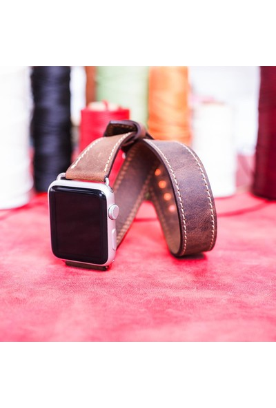 Bouletta Apple Watch Deri Çift Tur Kordon 42/44mm-G6 Koyu Kahve