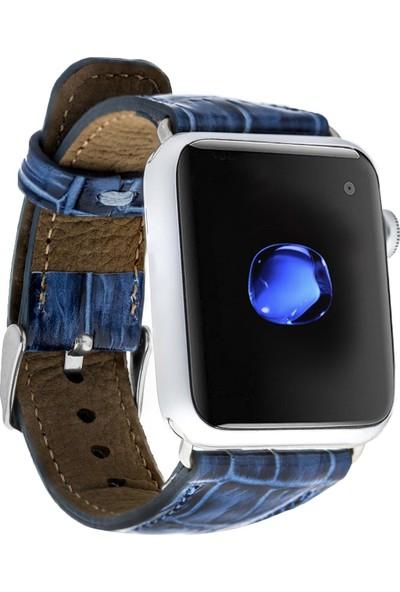 Bouletta Apple Watch Deri Croco Kordon 42/44mm Yk07 Mavi