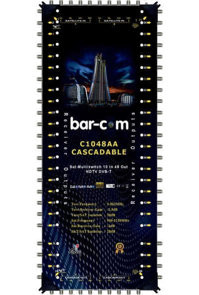 Barcom 10/48 Kaskat Multiswitch Uydu Santrali