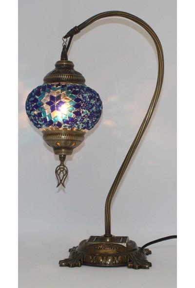 Otantik Masaüstü Mozaik Çalışma Masası Abajur Gece Lambası Dekor Lambası