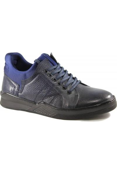 Derimall Erkek Hakiki Deri Bağcıklı Lacivert Ayakkabı Dft-Ea002