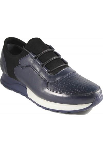 Derimall Erkek Hakiki Deri Bağcıklı Lacivert Günlük Ayakkabı