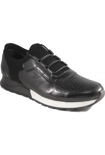 Derimall Erkek Hakiki Deri Siyah Bağcıklı Günlük Ayakkabı