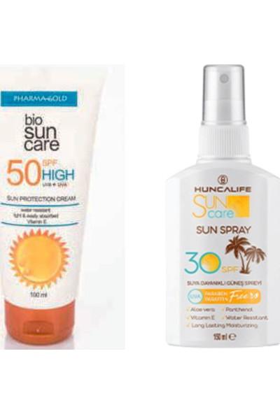 Pharma Gold Güneş Koruyucu Krem + Hl Huncalıfe Sun Care 30 Spf Spreyli Vücut Losyonu 150 ml