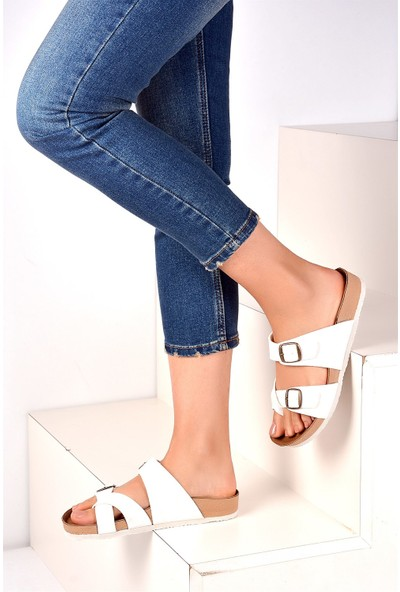 Pembe Potin Beyaz Kadın Sandalet