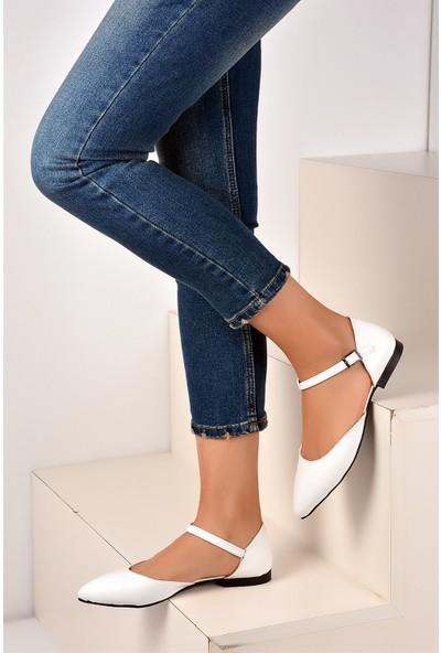 Pembe Potin Beyaz Rugan Kadın Ayakkabı