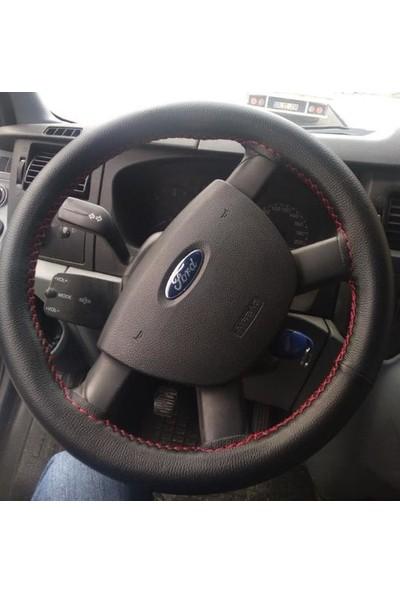 Autoen Opel Corsa D Deri Direksiyon Kılıfı Sarmalı Dikmeli Siyah Kırmızı Dikişli Kokusuz Düz
