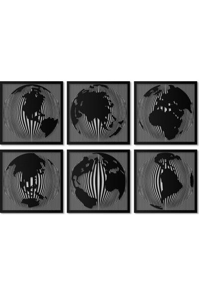 Artepera Globes 6'lı Set Metal Tablo - APT146 45 x 45 cm