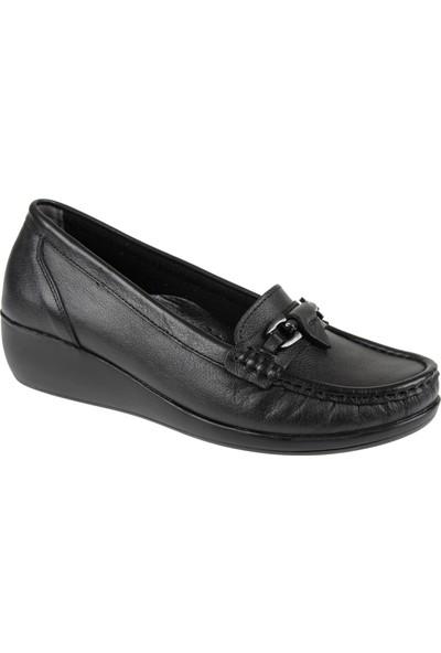 Shalin Hakiki Deri Kadın Ayakkabı 9007 Siyah