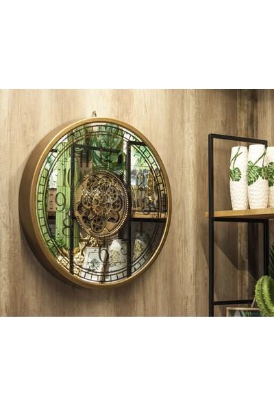 Evistro Dekoratif Metal Çarklı Aynalı Duvar Saati 80cm