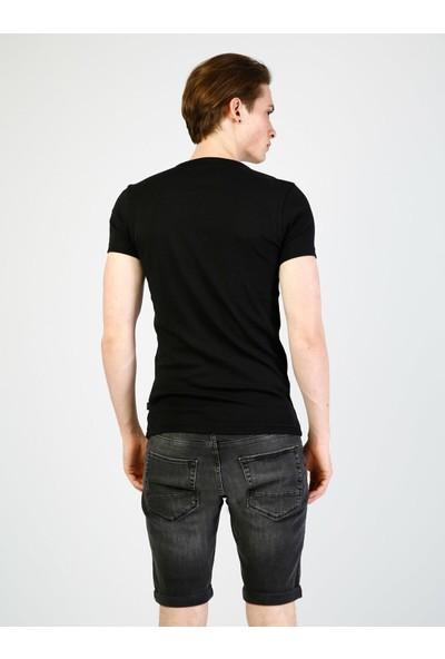 Colins Slim Fit Placket Neck Erkek Siyah Kısa Kol Tişört