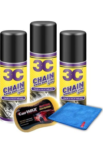 Carwax 3C Zincir & Halat Yağlama 3'li Set Mikrofiber Bez & Uygulama Süngeri