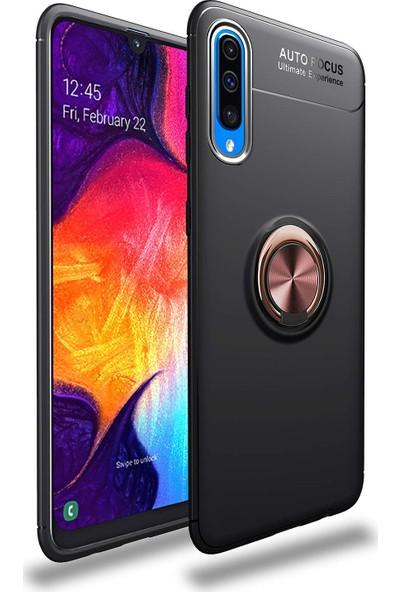 Case 4U Samsung Galaxy A70 Kılıf Yüzüklü Darbeye Dayanıklı Arka Kapak - Ravel Siyah-Rose Gold