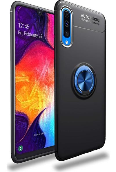 Case 4U Samsung Galaxy A70 Kılıf Yüzüklü Darbeye Dayanıklı Arka Kapak - Ravel Siyah-Mavi