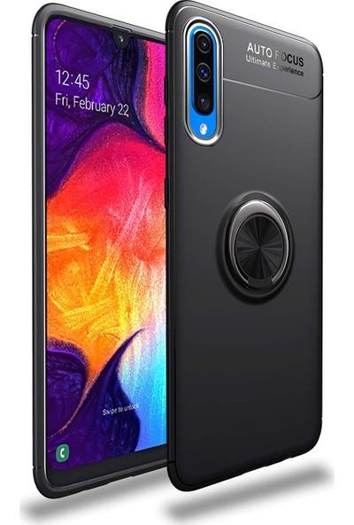 Case 4U Samsung Galaxy A70 Kılıf Yüzüklü Darbeye Dayanıklı Arka Kapak - Ravel Siyah