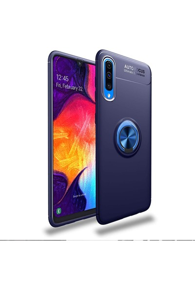 Case 4U Samsung Galaxy A70 Kılıf Yüzüklü Darbeye Dayanıklı Arka Kapak - Ravel Lacivert