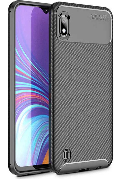 Case 4U Samsung Galaxy A10 Kılıf Karbon Desenli Sert Silikon Arka Kapak - Negro Siyah
