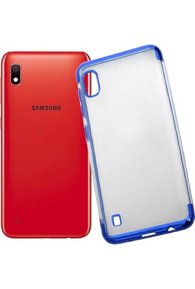 Case 4U Samsung Galaxy A10 Kılıf 4 Köşeli Renkli Lazer Silikon Arka Kapak - Glitter Mavi