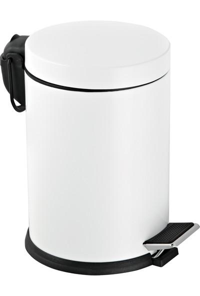 Foreca Beyaz Renkli Paslanmaz Pedallı Çöp Kovası Beyaz 5 Lt
