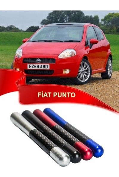 Waxen Fiat Punto Uyumlu Karbon Desenli Çubuk Anten Kısa Antan - Siyah