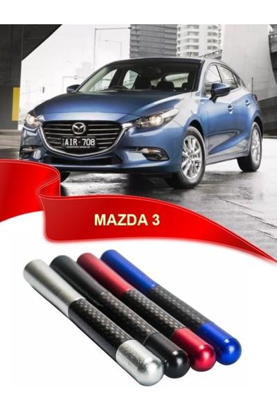 Waxen Mazda 3 Uyumlu Karbon Desenli Çubuk Metal Radio Anteni - Gri