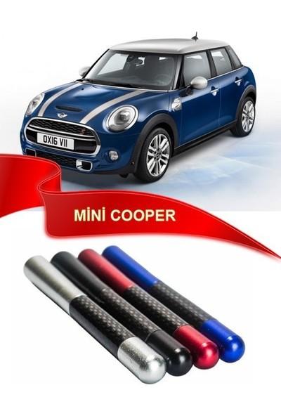 Waxen Mini Cooper Uyumlu Karbon Desenli Çubuk Anten Kısa Anten - Mavi