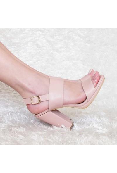 Modabuymus Kalın Tek Bantlı Platform Topuk Kadın Ayakkabı Pudra | Funlay