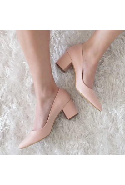 Modabuymus Kalın Topuklu Kısa Stiletto Kadın Ayakkabı Pudra Gudanle