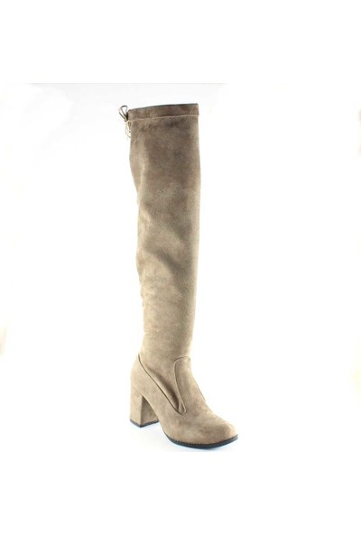 Modabuymus Dizüstü Streç Vizon Süet Topuklu Çorap Çizme - Lolora