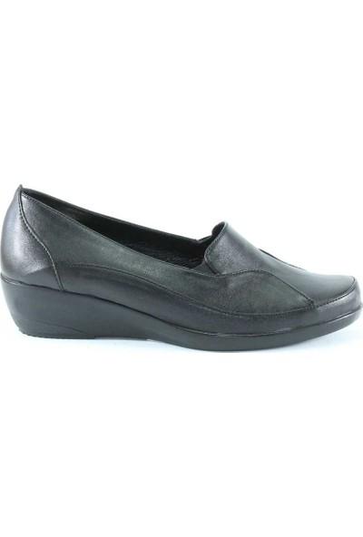 Modabuymus Siyah Deri Tam Ortapedik Anne Kadın Ayakkabısı - Palmdbys