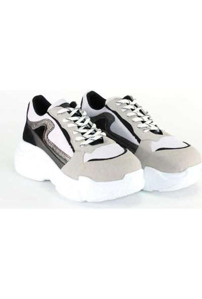 Modabuymus Yeni Sezon Kalın Tabanlı Gri Süet Kadın Sneakers Rahat Spor Ayakkabı - Jurland