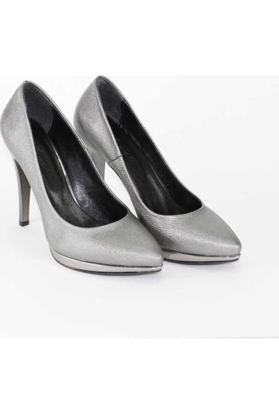 Modabuymus Platform Topuklu Platin Gri Stiletto Kadın Ayakkabı - Hyacinth