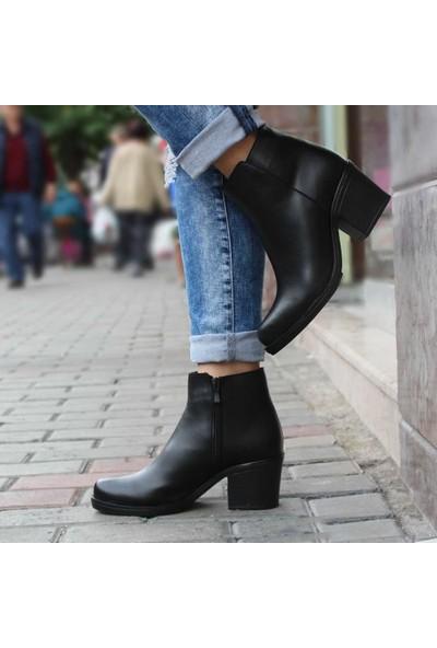 Modabuymus Kısa Topuklu Kadın Bot Siyah Fancez
