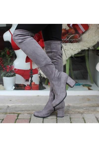 Modabuymus Uzun Çorap Çizme Gri Süet Streç Lolora