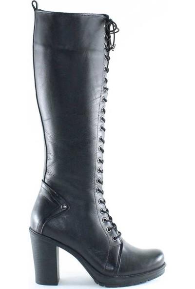 Modabuymus Hakiki Deri Siyah Kadın Platform Topuklu Postal Çizme - Derzomb