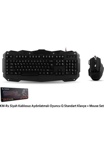 Rampage KM-R1 Siyah Kablolu Aydınlatmalı Standart OyuncuKlavye Mouse Set (14245)