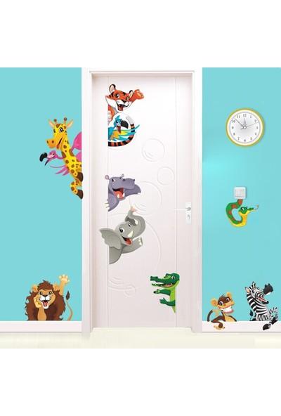 Color Casa Bebek Çocuk Odası Aslan Maymun Papağan Sevimli Hayvanlar Sticker
