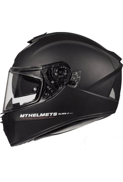 Mt Kask Mt Blade 2 Sv Solid A1 Negro Matt Black Güneş Vizörlü
