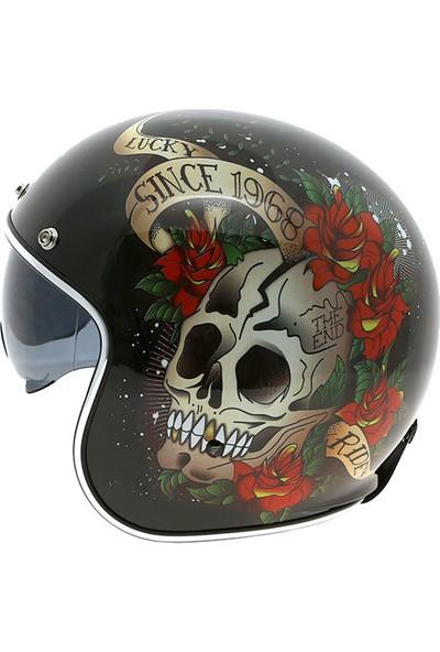 Mt Kask Mt Le Mans 2 Sv Skull Roses A1 Rojo Brıllo Yarım Kask