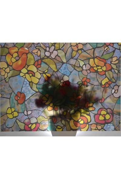 d-c-fix 200-3006 Çiçek Desen Kendinden Yapışkanlı Cam Vitray Folyo
