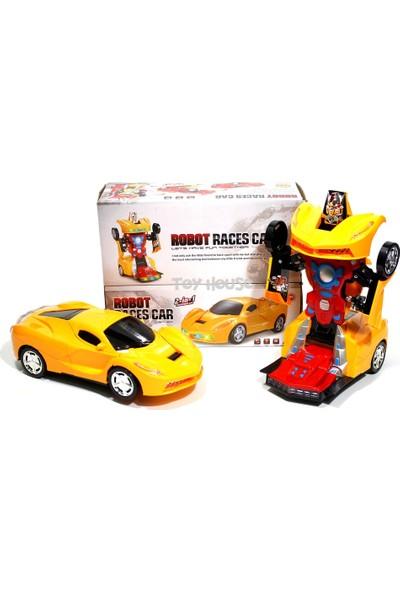 Can Oyuncak Led Işıklı Pilli Çarpıp Dönen ve Dönüşen Oyuncak Robot Transformers Araba