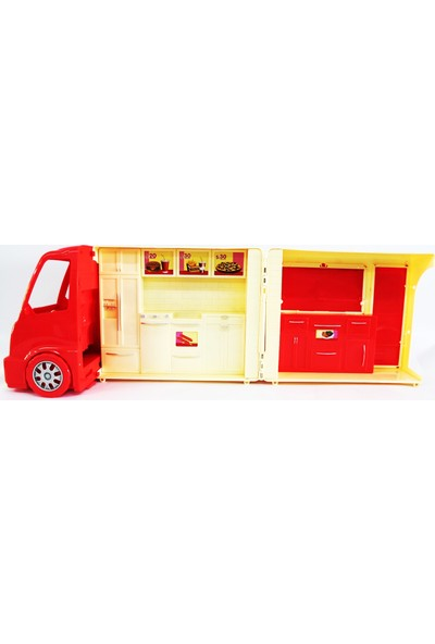 Çalkan Plastik Işıklı Sesi Dondurma Arabası 22 Parça Kırmızı
