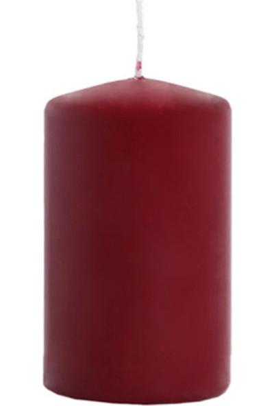 Euro Flora Bordo Kütük Mum - 10X6 Cm Dark Red 34