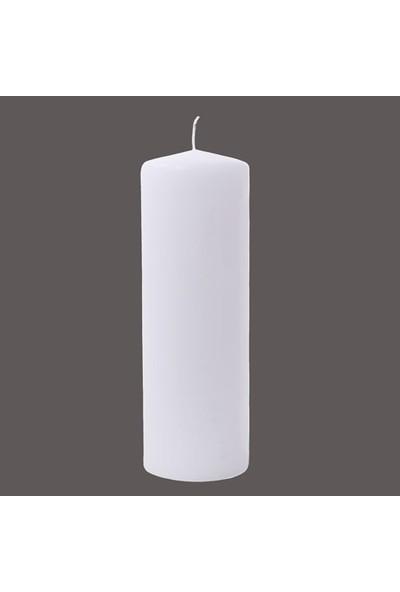 Euro Flora Beyaz Kütük Mum 30X10 Cm Whıte-02