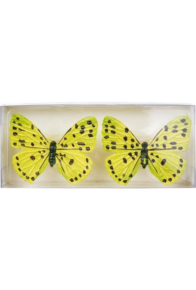 Euro Flora Kelebek Tasarımlı Dekoratif Mum 2'li Paket 8,5X6X3,5 Cm